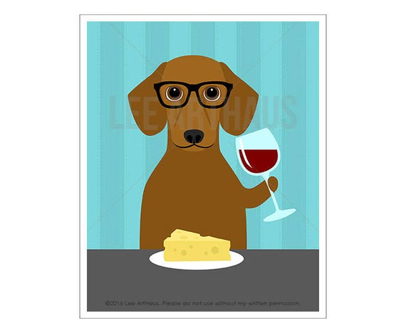 268D Dog Art - Short Hair Dachshund Drinking Wine Wall Art - Dachshund Print - Wine Decor - Dachshund Drawing - Red Dachshund Portrait