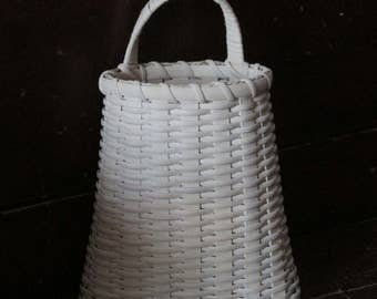 Front Porch Basket, Door Basket, Handwoven Basket with Whitewash, Wall Pocket