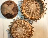 woven straw wall baskets - rattan basket trays - starburst basket - boho wall decor