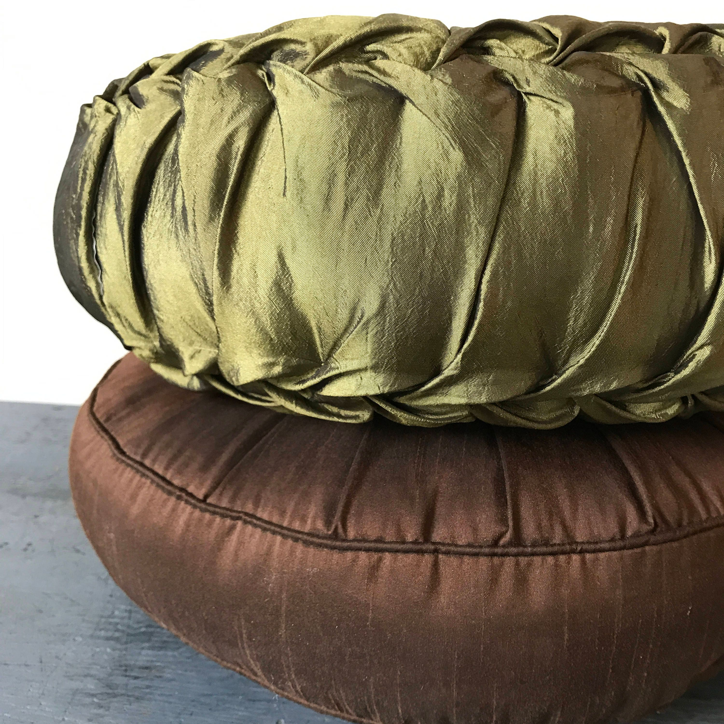 Throw Pillow Round : RESERVED // vintage throw pillow - round ruched cushion - olive green