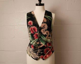 Vintage 1980's Antique Boutique 1950's Barcloth Vest S