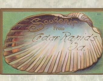 Seashell postcard - Souvenir from Cedar Rapids