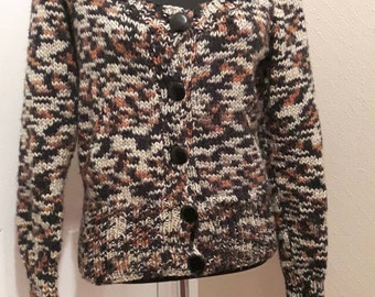 Hand knitted cardigan with pockets. Size 10.