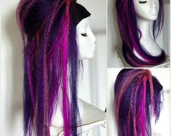 Single hair fall on strong elastic. Long fall in pinks and purples!