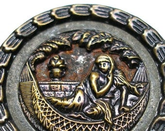 """XL Cleopatra Antique BUTTON, Victorian Storybook with Egyptian Queen. 1 7/16""""."""