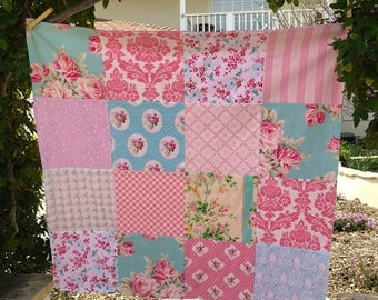 32x32 Baby Girl Pink & Aqua Minky Blanket Ready to Ship