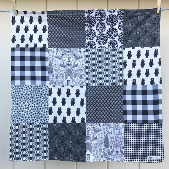 Black and White Baby Blanket Ready to Ship