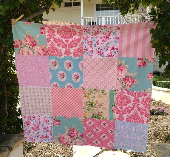 32x32 Baby Girl Pink & Aqua Minky Blanket Ready to Ship