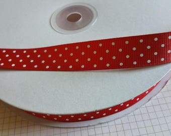 "Red Dotted Swiss Grosgrain Trim - 5/8"" Wide Crafting Ribbon - 50 Yards - DESTASH SALE"