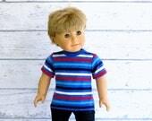 American Boy Doll Red White Blue Striped Tee Shirt