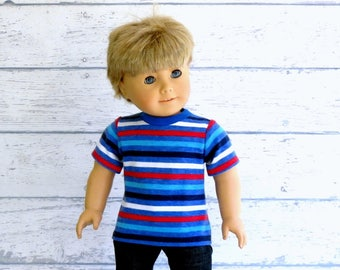 American Boy Doll Red White Blue Striped Tee Shirt