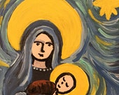 Hand painted Mary and Jesus notecard