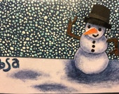 Snowman in a snow storm notecard