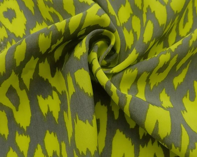 Abstract Animal Print in Chartreuse/Gray -  Blouseweight Woven - 100% Polyester  FABRIC