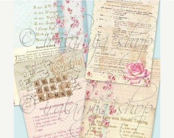 SALE RECIPE BACKGROUNdS Collage Digital Images -printable download file- Digital Collage Sheet Vintage Paper Scrapbook