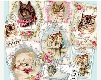 SALE CATS collage Digital Images  -printable download file-
