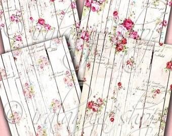 SALE WOOD ROSES Digital Images- printable backgrounds-printable download file- digital scrapbook paper- printable paper