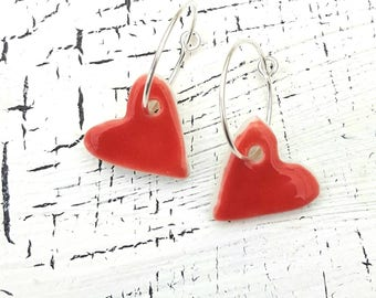 Porcelain and Sterling Silver Heart Earrings In Rhode Island Red