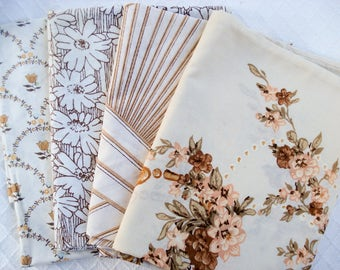 Vintage pillowcases - set of 4 - shades of brown