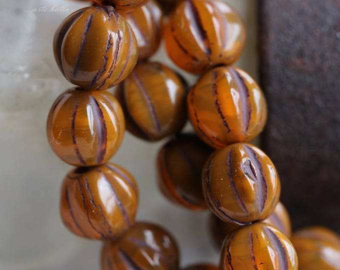 ROASTED MELONS .. 25 Premium Picasso Czech Glass Melon Beads 6mm (5783-st)
