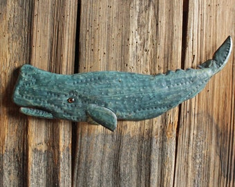 Sperm Whale - brass metal folk art marine mammal Moby Dick art sculpture - wall hanging - with turquoise blue-green patina - OOAK