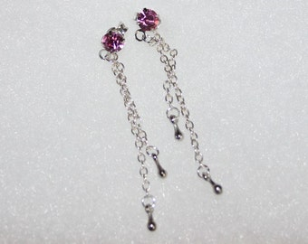 Pink Crystal Earrings With Silver Chain and Silver Drop