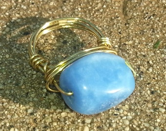 Dyed Blue Jade Bead Wire Wrapped Ring