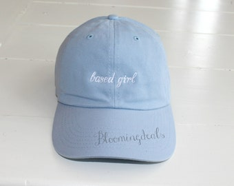Custom Baseball Caps, Personalized Sun Hats, Light Blue Ball Cap, Custom Embroidery by Bloomingdeals