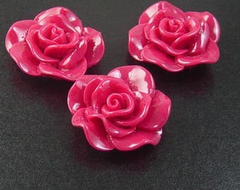 Cabochon Flower 2 Opaque Resin Rose Flower Round Pendant Size 30mm Red (1014cab30m3-2)