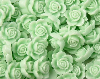 Cabochon Flower 14 Resin Round Rose Flower Opaque 15mm Light Green (1013cab15m6-10)