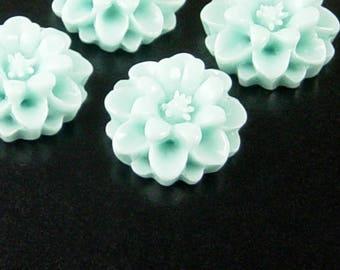 Cabochon Flower 4 Resin Round Flower Blue 18mm x 7.5mm (1020cab18b1)