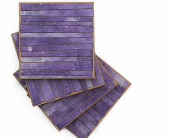 Mosaic Stripe Coasters Handmade Paper Variegated Purple Design Set of 4 Wood Coasters Purple Mosaic Functional Art