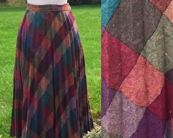 Hostess 70s Plaid Pleated Full Skirt 30 Waist