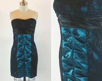 """Vintage 80s Lace Ruched Cocktail Party Prom Dress 28"""" Waist"""
