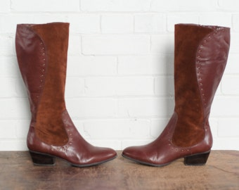 SALE Leather and Suede Riding Boots Two Tone Chocolate Brown Low Stacked Heel Metal Details Size 8 M