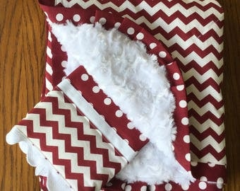 NEW....Maroon and White Chevron Blanket and Burp Cloth Set...PERSONALIZATION AVAILABLE