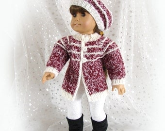 Doll Knit Sweater and Hat Burgundy and White Tweed Doll Jacket American Girl Doll Sweater and Hat 18 inch Doll Tweed Sweater and Hat
