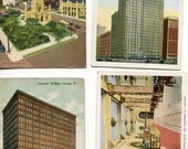 Lot of 4 Chicago, IL  Postcards -Chicago Temple, Auditorium Hotel, Heyworth Building, Old Water Tower & Palmolive Building