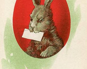 Easter vintage Postcard, anitque post card  Easter bunny rabbit with letter