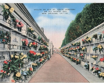 Vaults of Old St. Louis Cemetery on All Saints' Day, New Orleans, LA vintage postcard