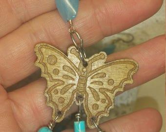Butterflies, Turquoise, Chandelier Earrings