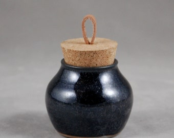 Small Bottle with Cork Lid in Black Lapis Treasure Jar Intentions Keeper