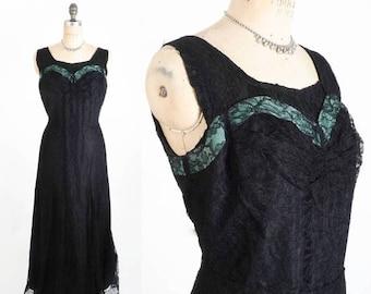 """40% OFF SALE Vintage 1930's Dress // 40's Dress  // Lace Dress // Floor Length Dress // Sweetheart Illusion Bust Dress // Size L  - 34"""" Wais"""