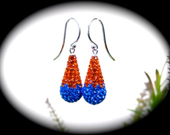 """Brilliant Hyacinth Orange & Sapphire Blue Game Day Bling Drop Sterling Silver French Hook Wire Or 1.25"""" SS Thread Earrings ~ Your Choice"""