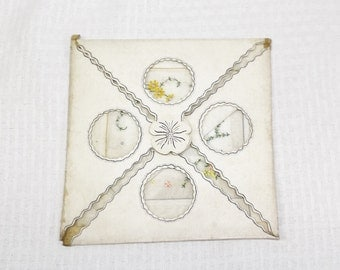 1920s Vintage NOS Embroidered Linen Hankies L.S. Ayres