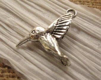 Hummingbird Charm from Nunn Design with Antique Silver Plating