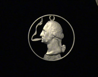 The Original George Blazing a Fat Joint Cut Coin Pendant - 1989