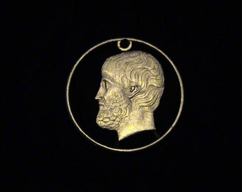 GREECE- cut coin pendant - ARISTOTLE, Greek Philosopher, student of Plato, teacher to Alexander the Great. - 1988