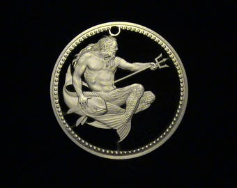 BARBADOS - cut coin jewelry -  Neptune, Roman God of the Sea - 1973 - STERLING