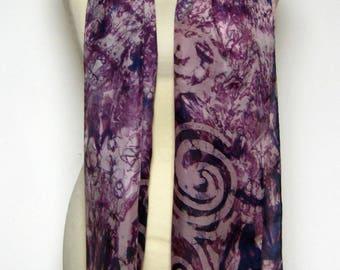 Silk Scarf Hand Painted Dark Aubergine Spiral